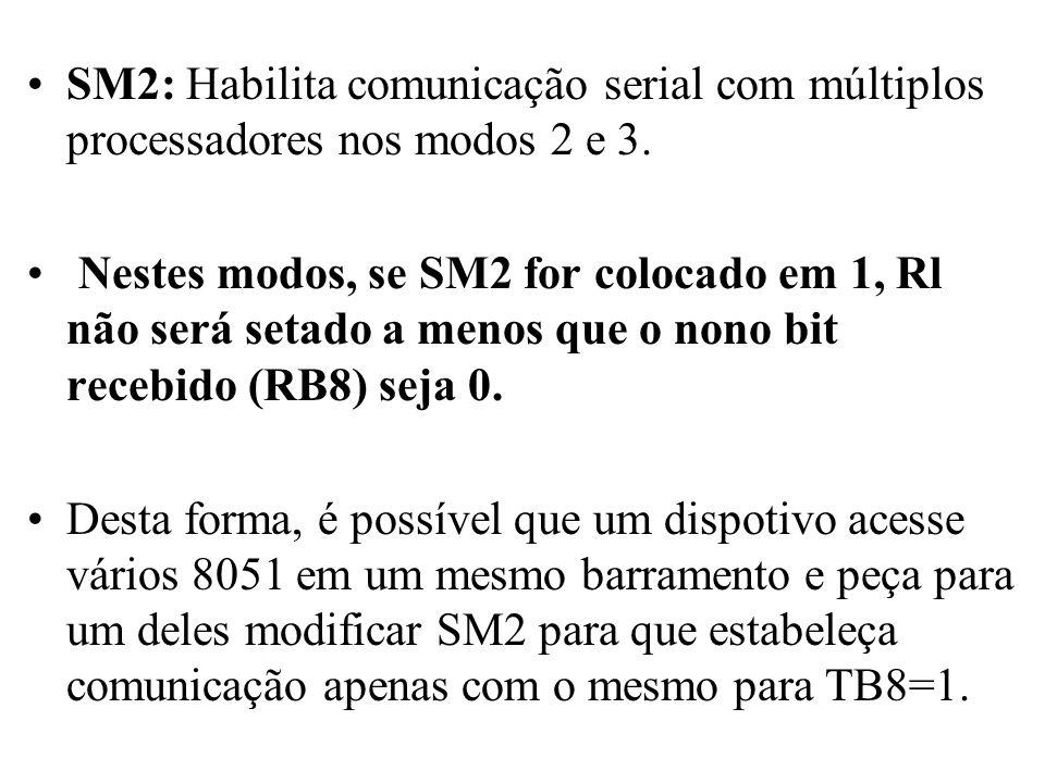 SM2: Habilita comunicação serial com múltiplos processadores nos modos 2 e 3. Nestes modos, se SM2 for colocado em 1, Rl não será setado a menos que o