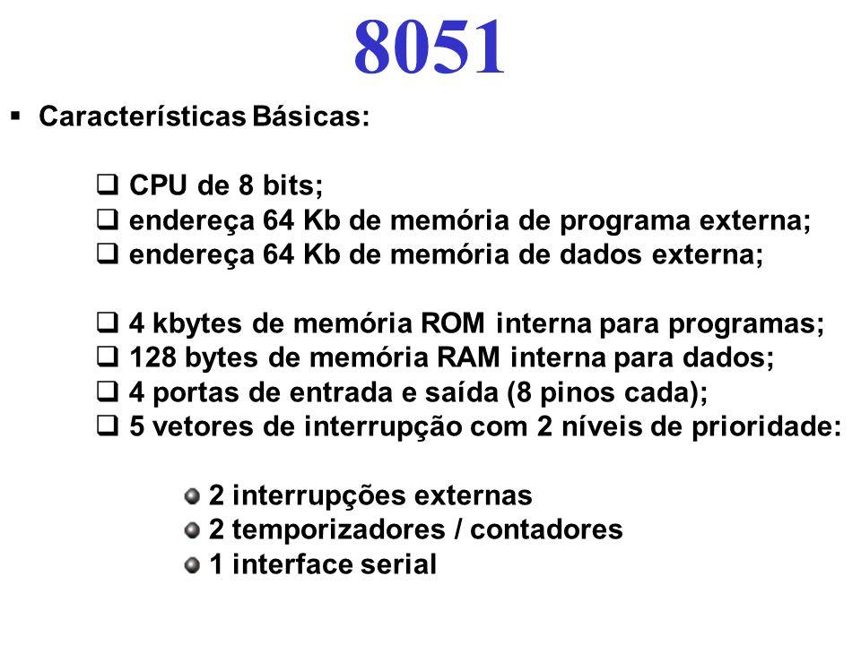 8051 Características Básicas: CPU de 8 bits; endereça 64 Kb de memória de programa externa; endereça 64 Kb de memória de dados externa; 4 kbytes de me