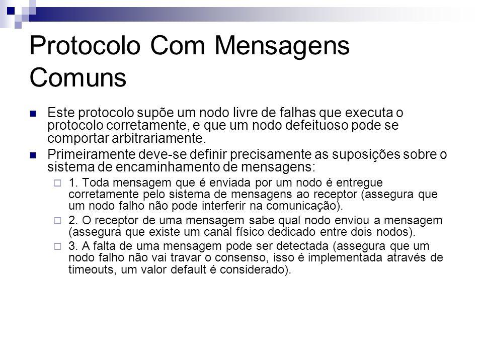 Protocolo Com Mensagens Comuns Este protocolo supõe um nodo livre de falhas que executa o protocolo corretamente, e que um nodo defeituoso pode se com