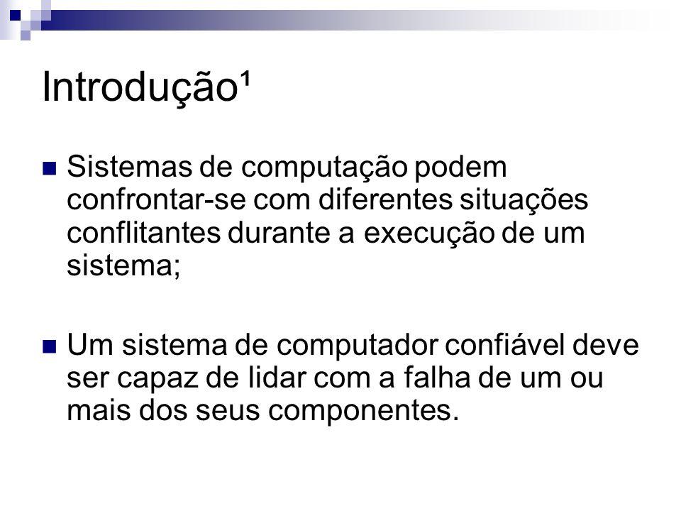 Introdução¹ Sistemas de computação podem confrontar-se com diferentes situações conflitantes durante a execução de um sistema; Um sistema de computado