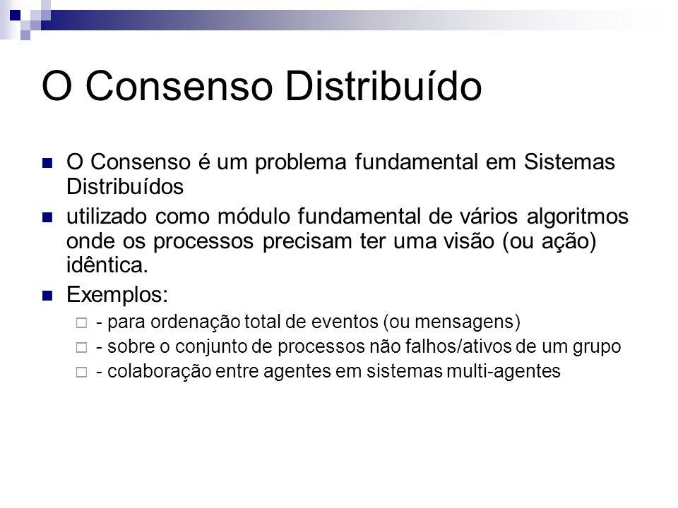 O Consenso Distribuído O Consenso é um problema fundamental em Sistemas Distribuídos utilizado como módulo fundamental de vários algoritmos onde os pr