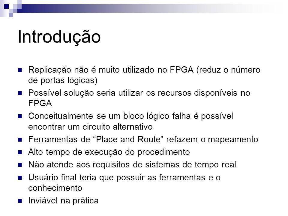 Introdução Replicação não é muito utilizado no FPGA (reduz o número de portas lógicas) Possível solução seria utilizar os recursos disponíveis no FPGA