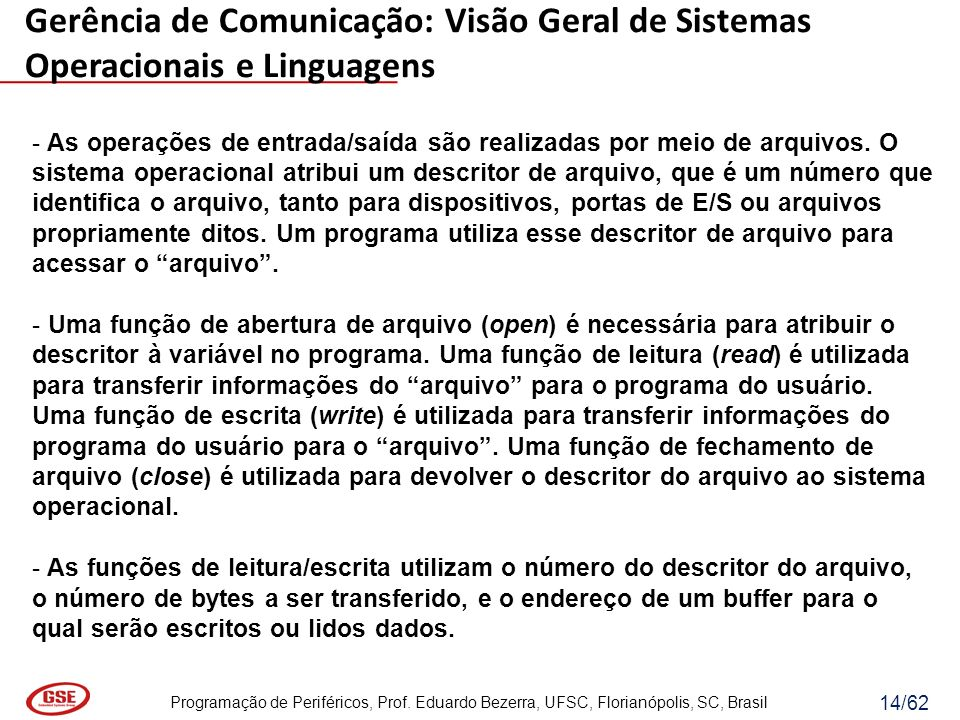 Programação de Periféricos, Prof. Eduardo Bezerra, UFSC, Florianópolis, SC, Brasil 14/62 - As operações de entrada/saída são realizadas por meio de ar