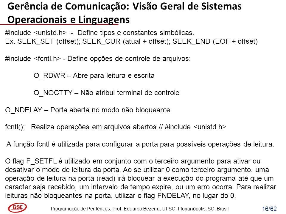 Programação de Periféricos, Prof. Eduardo Bezerra, UFSC, Florianópolis, SC, Brasil 16/62 #include - Define tipos e constantes simbólicas. Ex. SEEK_SET
