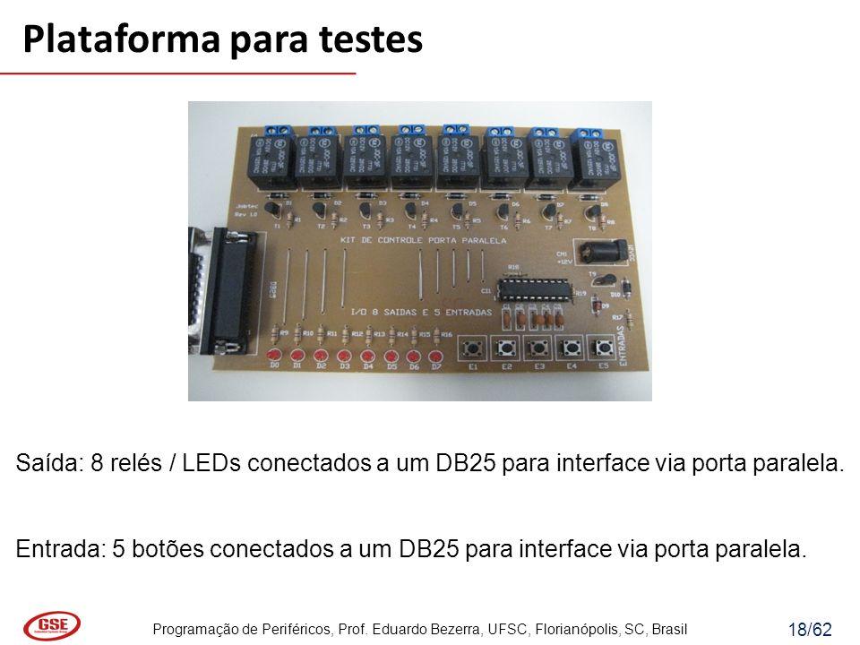 Programação de Periféricos, Prof. Eduardo Bezerra, UFSC, Florianópolis, SC, Brasil 18/62 Saída: 8 relés / LEDs conectados a um DB25 para interface via
