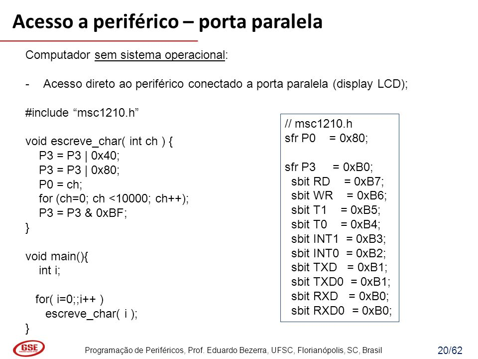 Programação de Periféricos, Prof. Eduardo Bezerra, UFSC, Florianópolis, SC, Brasil 20/62 Computador sem sistema operacional: -Acesso direto ao perifér