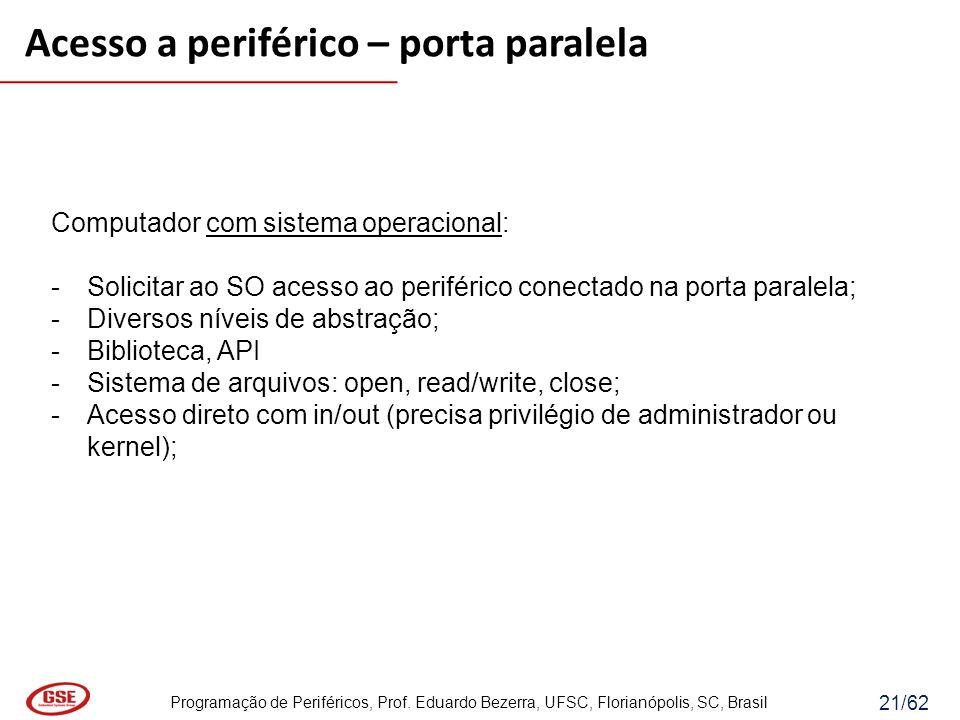 Programação de Periféricos, Prof. Eduardo Bezerra, UFSC, Florianópolis, SC, Brasil 21/62 Computador com sistema operacional: -Solicitar ao SO acesso a