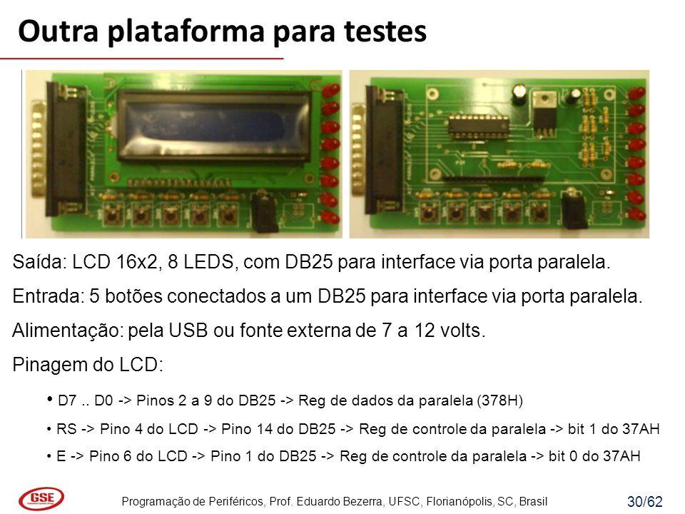 Programação de Periféricos, Prof. Eduardo Bezerra, UFSC, Florianópolis, SC, Brasil 30/62 Saída: LCD 16x2, 8 LEDS, com DB25 para interface via porta pa