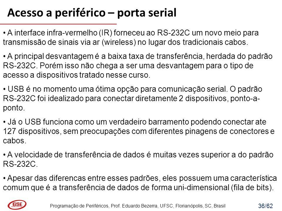 Programação de Periféricos, Prof. Eduardo Bezerra, UFSC, Florianópolis, SC, Brasil 36/62 A interface infra-vermelho (IR) forneceu ao RS-232C um novo m