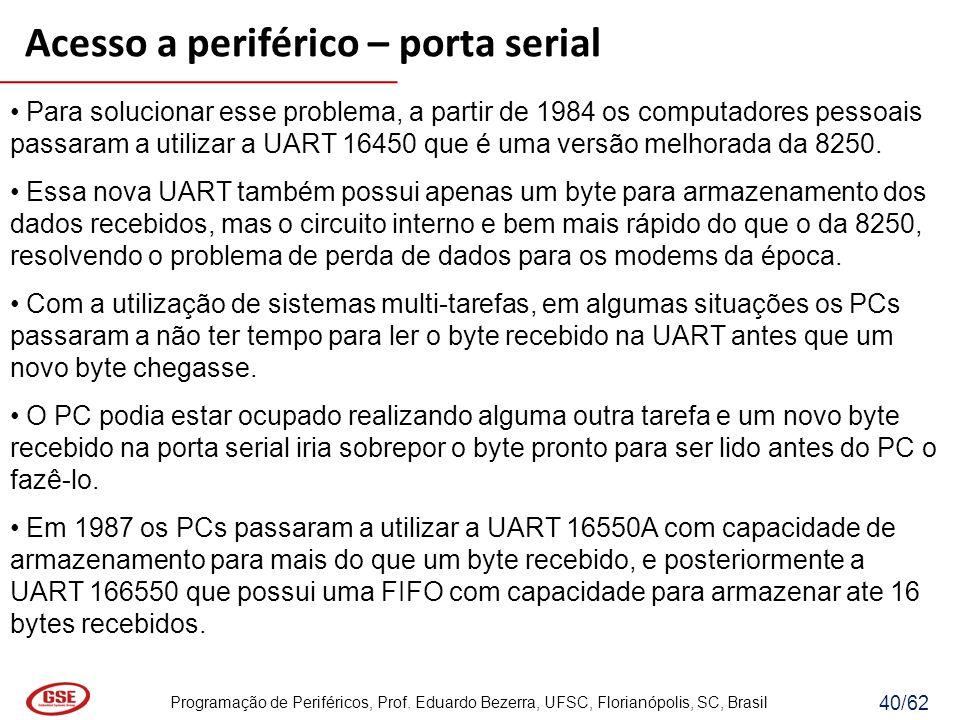 Programação de Periféricos, Prof. Eduardo Bezerra, UFSC, Florianópolis, SC, Brasil 40/62 Para solucionar esse problema, a partir de 1984 os computador