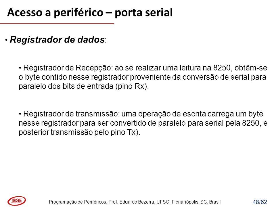 Programação de Periféricos, Prof. Eduardo Bezerra, UFSC, Florianópolis, SC, Brasil 48/62 Registrador de dados : Registrador de Recepção: ao se realiza