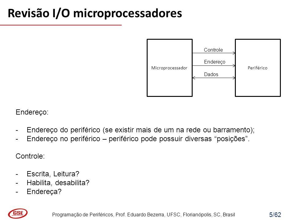 Programação de Periféricos, Prof. Eduardo Bezerra, UFSC, Florianópolis, SC, Brasil 5/62 MicroprocessadorPeriférico Controle Endereço Dados Endereço: -