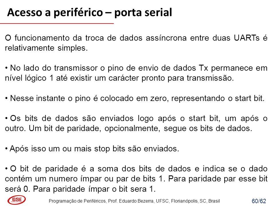 Programação de Periféricos, Prof. Eduardo Bezerra, UFSC, Florianópolis, SC, Brasil 60/62 Acesso a periférico – porta serial O funcionamento da troca d
