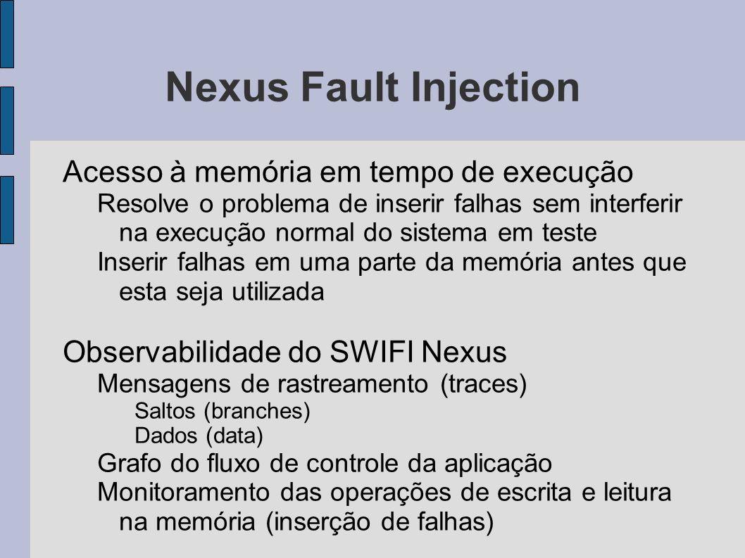 Nexus Fault Injection Acesso à memória em tempo de execução Resolve o problema de inserir falhas sem interferir na execução normal do sistema em teste