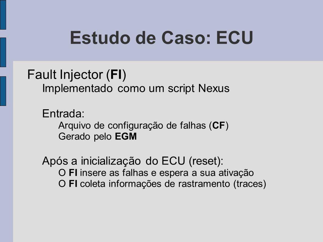 Estudo de Caso: ECU Fault Injector (FI) Implementado como um script Nexus Entrada: Arquivo de configuração de falhas (CF) Gerado pelo EGM Após a inici