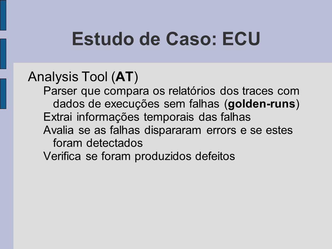Estudo de Caso: ECU Analysis Tool (AT) Parser que compara os relatórios dos traces com dados de execuções sem falhas (golden-runs) Extrai informações