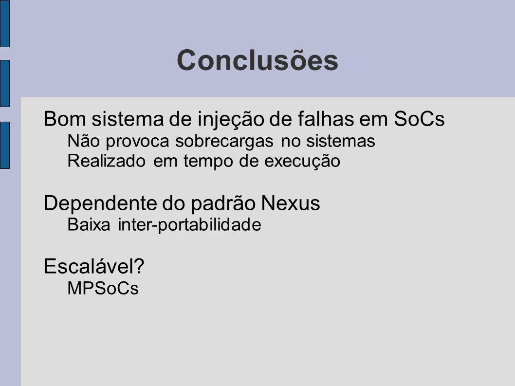 Conclusões Bom sistema de injeção de falhas em SoCs Não provoca sobrecargas no sistemas Realizado em tempo de execução Dependente do padrão Nexus Baix