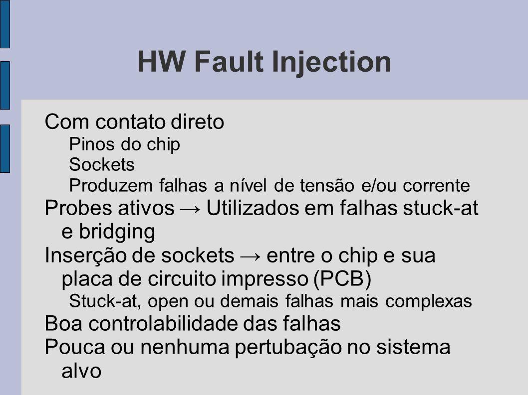 HW Fault Injection Com contato direto Pinos do chip Sockets Produzem falhas a nível de tensão e/ou corrente Probes ativos Utilizados em falhas stuck-a