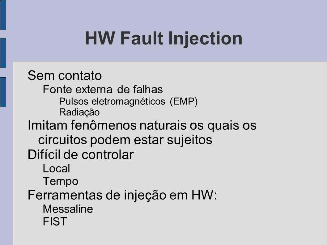 HW Fault Injection Sem contato Fonte externa de falhas Pulsos eletromagnéticos (EMP) Radiação Imitam fenômenos naturais os quais os circuitos podem es