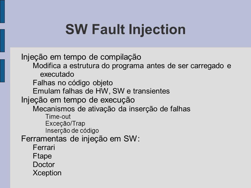 SW Fault Injection Injeção em tempo de compilação Modifica a estrutura do programa antes de ser carregado e executado Falhas no código objeto Emulam f