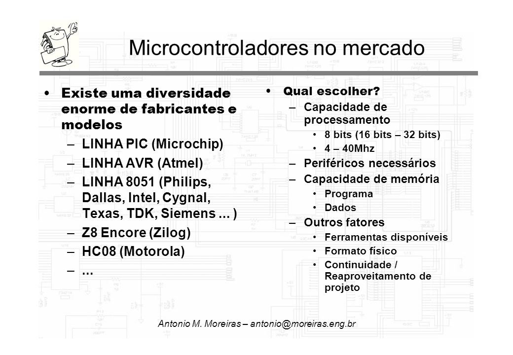 Antonio M. Moreiras – antonio@moreiras.eng.br Microcontroladores no mercado Existe uma diversidade enorme de fabricantes e modelos –LINHA PIC (Microch