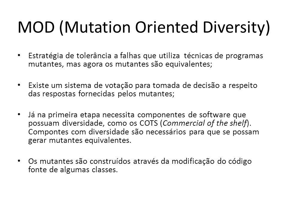 MOD (Mutation Oriented Diversity) Estratégia de tolerância a falhas que utiliza técnicas de programas mutantes, mas agora os mutantes são equivalentes
