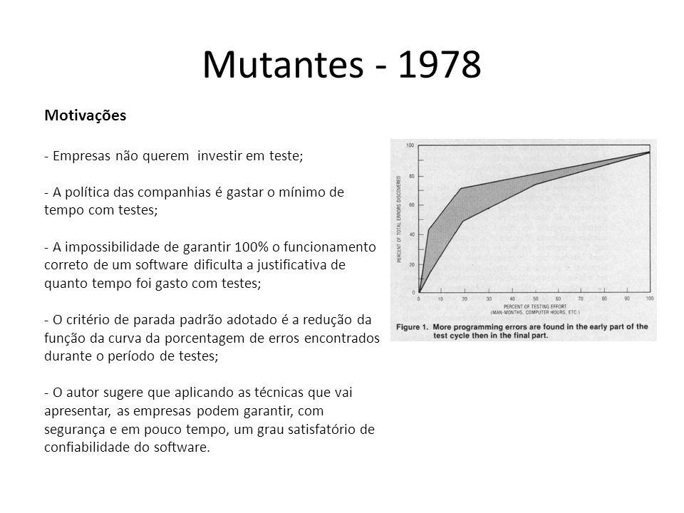 Mutantes - 1978 The coupling effect (efeito do acoplamento) – Programadores criam programas quase corretos; – Erros complexos estão acoplados a erros simples; – A maioria dos erros cometidos por programadores são conhecidos e repetem-se com freqüência.