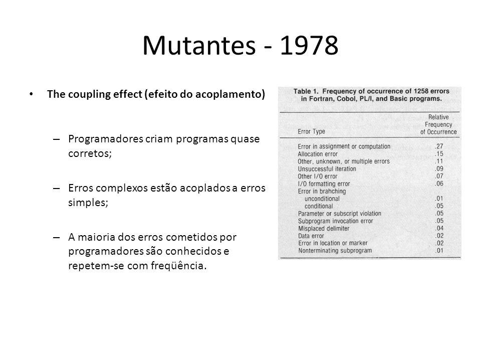 Mutantes - 1978 The coupling effect (efeito do acoplamento) – Programadores criam programas quase corretos; – Erros complexos estão acoplados a erros