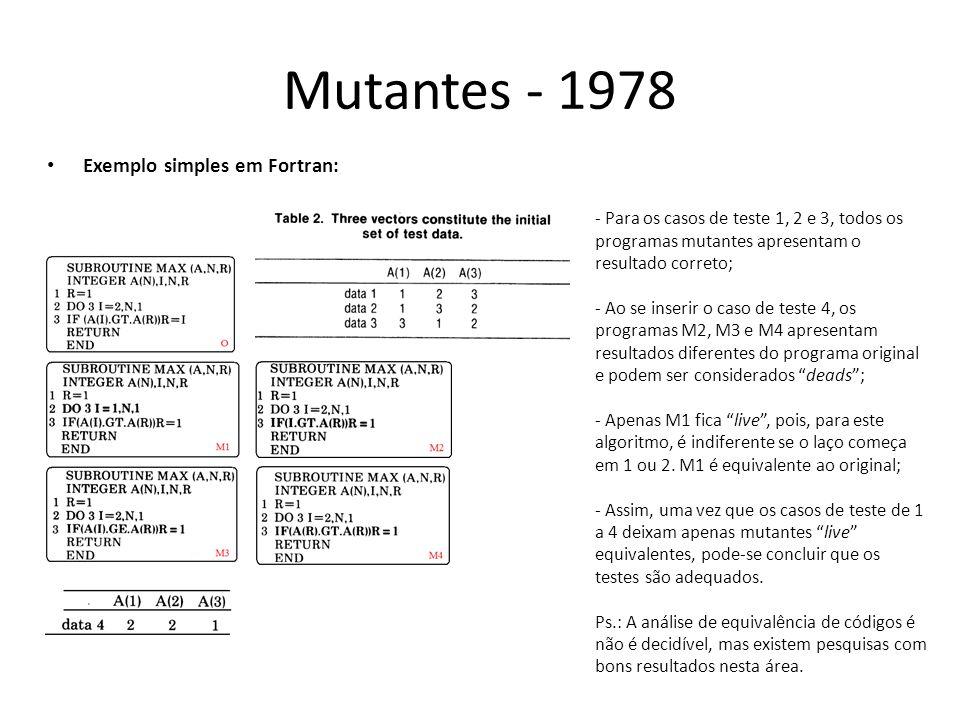Mutantes - 1978 Exemplo simples em Fortran: - Para os casos de teste 1, 2 e 3, todos os programas mutantes apresentam o resultado correto; - Ao se ins