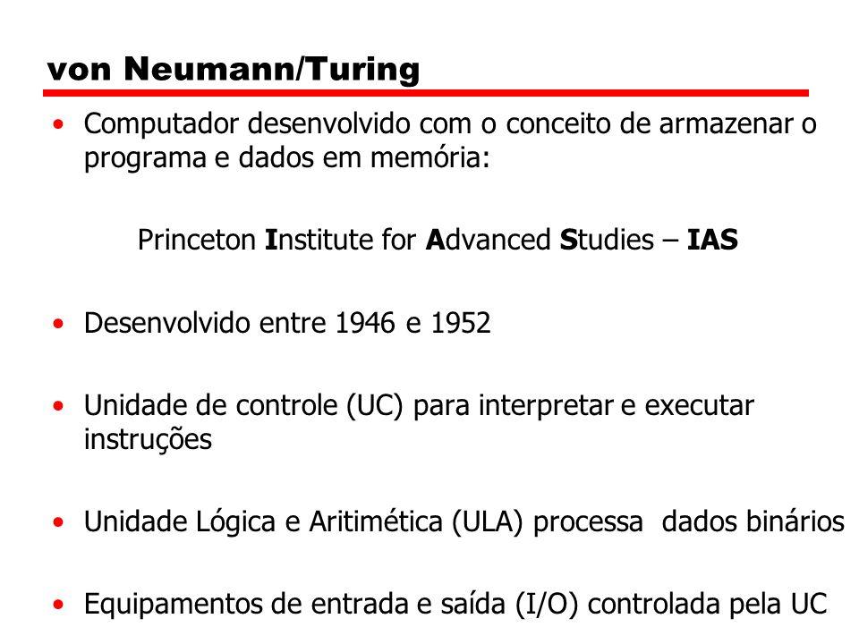 von Neumann/Turing Computador desenvolvido com o conceito de armazenar o programa e dados em memória: Princeton Institute for Advanced Studies – IAS Desenvolvido entre 1946 e 1952 Unidade de controle (UC) para interpretar e executar instruções Unidade Lógica e Aritimética (ULA) processa dados binários Equipamentos de entrada e saída (I/O) controlada pela UC