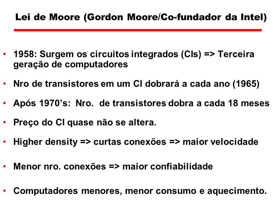 Lei de Moore (Gordon Moore/Co-fundador da Intel) 1958: Surgem os circuitos integrados (CIs) => Terceira geração de computadores Nro de transistores em um CI dobrará a cada ano (1965) Após 1970s: Nro.