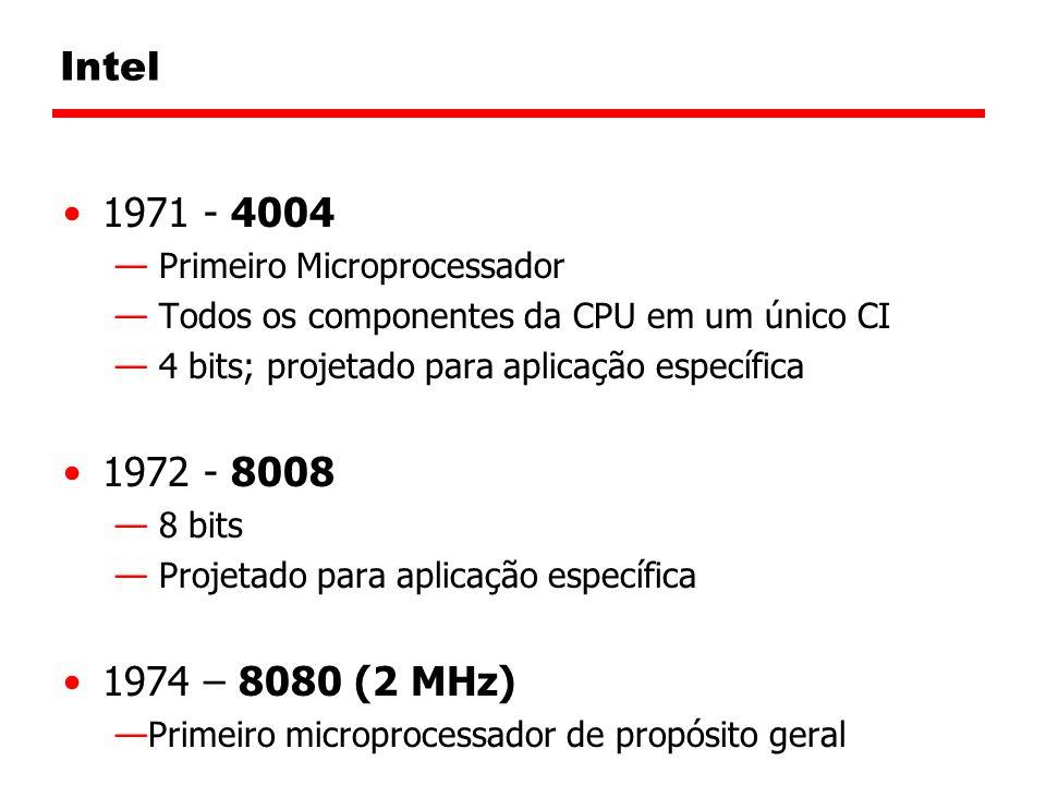 Intel 1971 - 4004 Primeiro Microprocessador Todos os componentes da CPU em um único CI 4 bits; projetado para aplicação específica 1972 - 8008 8 bits