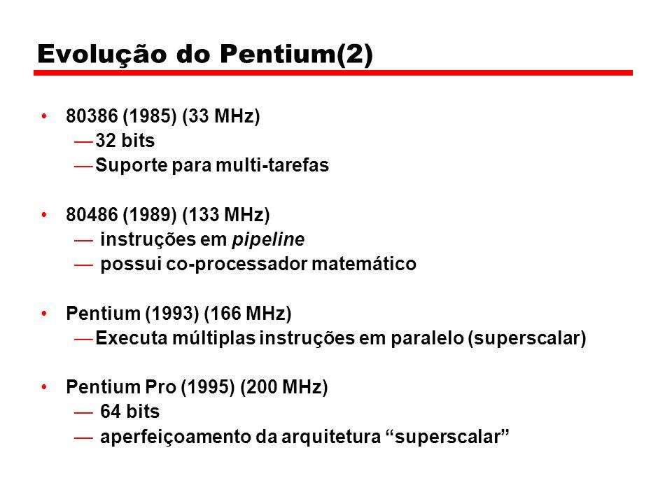 Evolução do Pentium(2) 80386 (1985) (33 MHz) 32 bits Suporte para multi-tarefas 80486 (1989) (133 MHz) instruções em pipeline possui co-processador ma