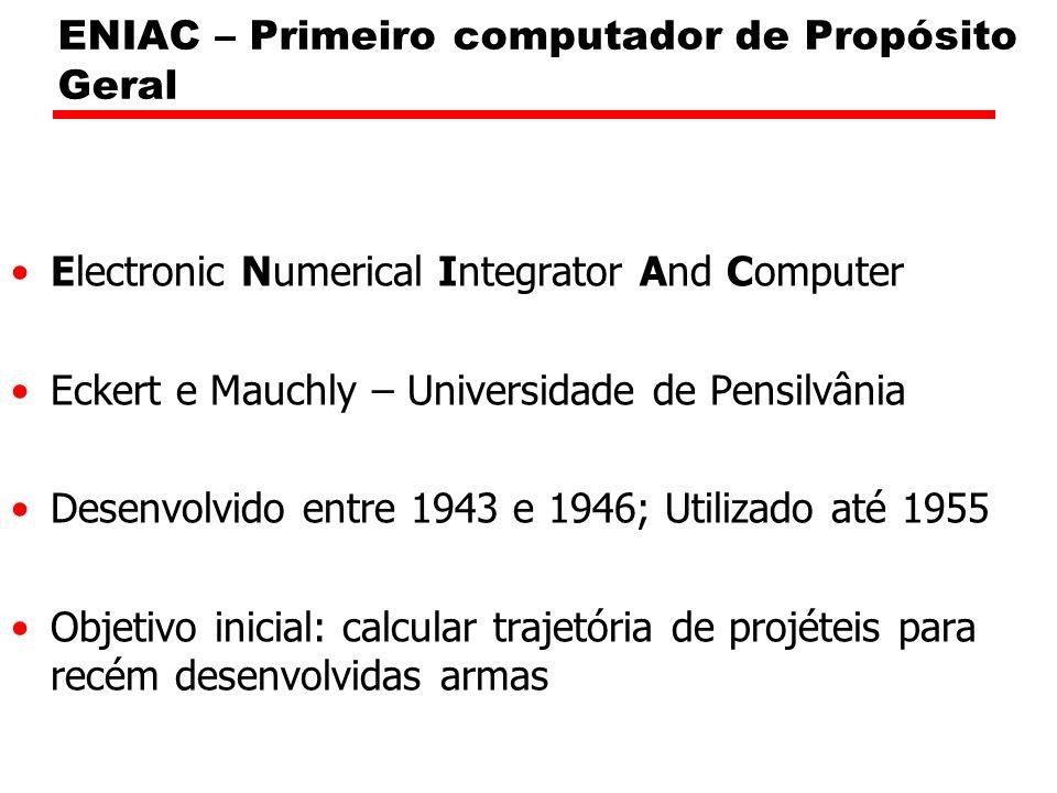 ENIAC – Primeiro computador de Propósito Geral Electronic Numerical Integrator And Computer Eckert e Mauchly – Universidade de Pensilvânia Desenvolvido entre 1943 e 1946; Utilizado até 1955 Objetivo inicial: calcular trajetória de projéteis para recém desenvolvidas armas