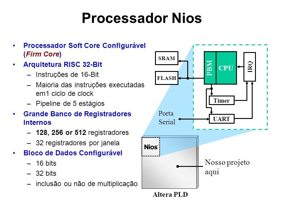 Processador Soft Core Configurável (Firm Core) Arquitetura RISC 32-Bit –Instruções de 16-Bit –Maioria das instruções executadas em1 ciclo de clock –Pi