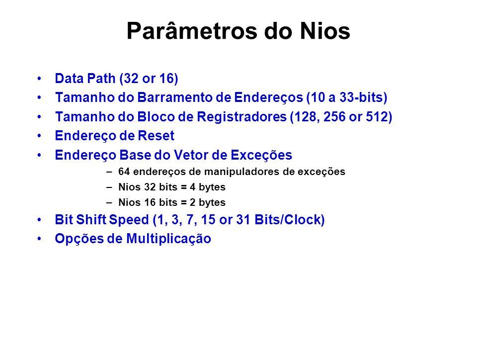 Parâmetros do Nios Data Path (32 or 16) Tamanho do Barramento de Endereços (10 a 33-bits) Tamanho do Bloco de Registradores (128, 256 or 512) Endereço