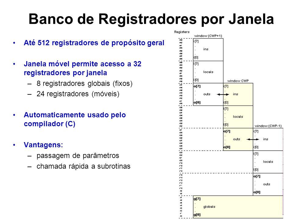 Banco de Registradores por Janela Até 512 registradores de propósito geral Janela móvel permite acesso a 32 registradores por janela –8 registradores