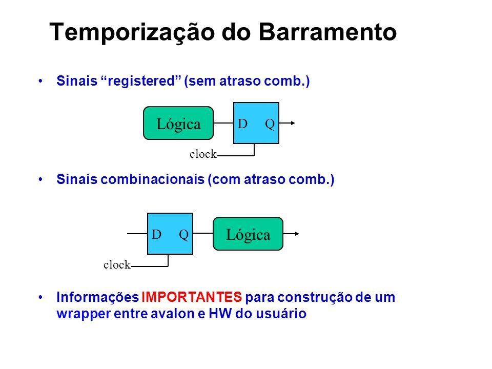 Temporização do Barramento Sinais registered (sem atraso comb.) Sinais combinacionais (com atraso comb.) Informações IMPORTANTES para construção de um