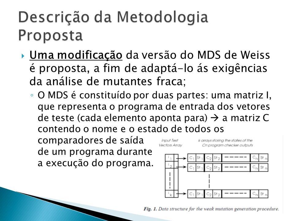 Uma modificação da versão do MDS de Weiss é proposta, a fim de adaptá-lo ás exigências da análise de mutantes fraca; O MDS é constituído por duas part