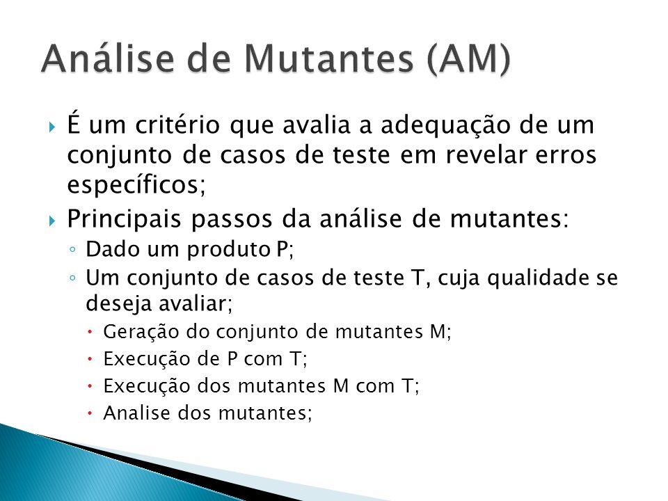 É um critério que avalia a adequação de um conjunto de casos de teste em revelar erros específicos; Principais passos da análise de mutantes: Dado um