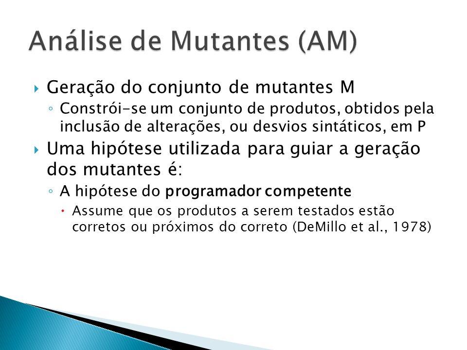 Geração do conjunto de mutantes M Constrói-se um conjunto de produtos, obtidos pela inclusão de alterações, ou desvios sintáticos, em P Uma hipótese u