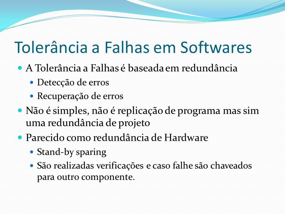 Tolerância a Falhas em Softwares A Tolerância a Falhas é baseada em redundância Detecção de erros Recuperação de erros Não é simples, não é replicação