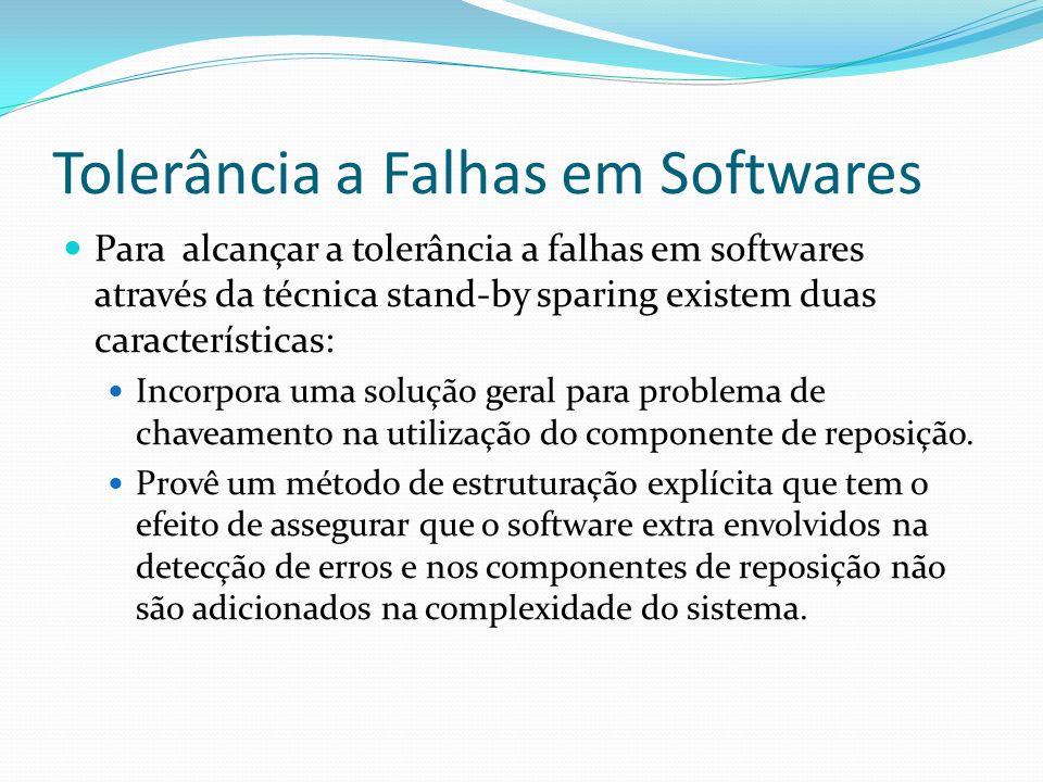 Tolerância a Falhas em Softwares Para alcançar a tolerância a falhas em softwares através da técnica stand-by sparing existem duas características: In