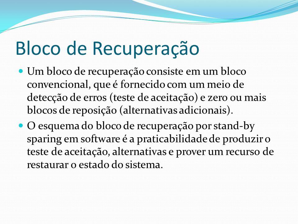 Bloco de Recuperação Um bloco de recuperação consiste em um bloco convencional, que é fornecido com um meio de detecção de erros (teste de aceitação)
