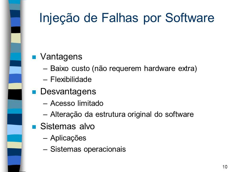 Injeção de Falhas por Software n Vantagens –Baixo custo (não requerem hardware extra) –Flexibilidade n Desvantagens –Acesso limitado –Alteração da est