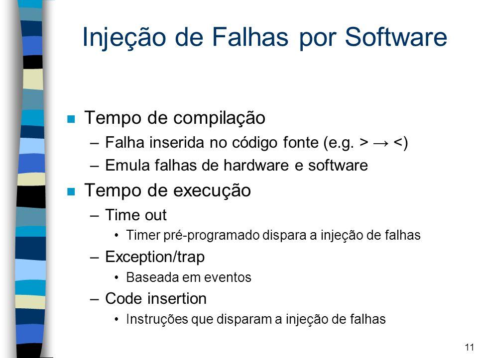 Injeção de Falhas por Software n Tempo de compilação –Falha inserida no código fonte (e.g. > <) –Emula falhas de hardware e software n Tempo de execuç