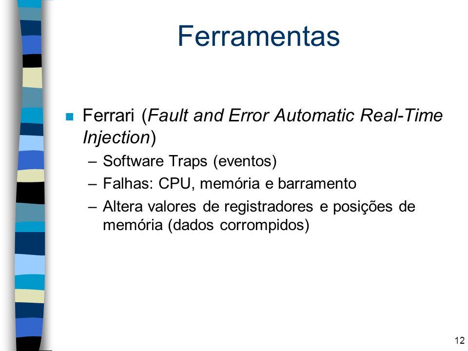 Ferramentas n Ferrari (Fault and Error Automatic Real-Time Injection) –Software Traps (eventos) –Falhas: CPU, memória e barramento –Altera valores de