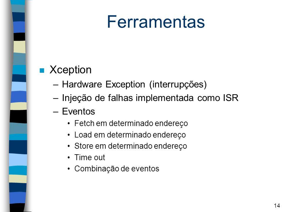 Ferramentas n Xception –Hardware Exception (interrupções) –Injeção de falhas implementada como ISR –Eventos Fetch em determinado endereço Load em dete