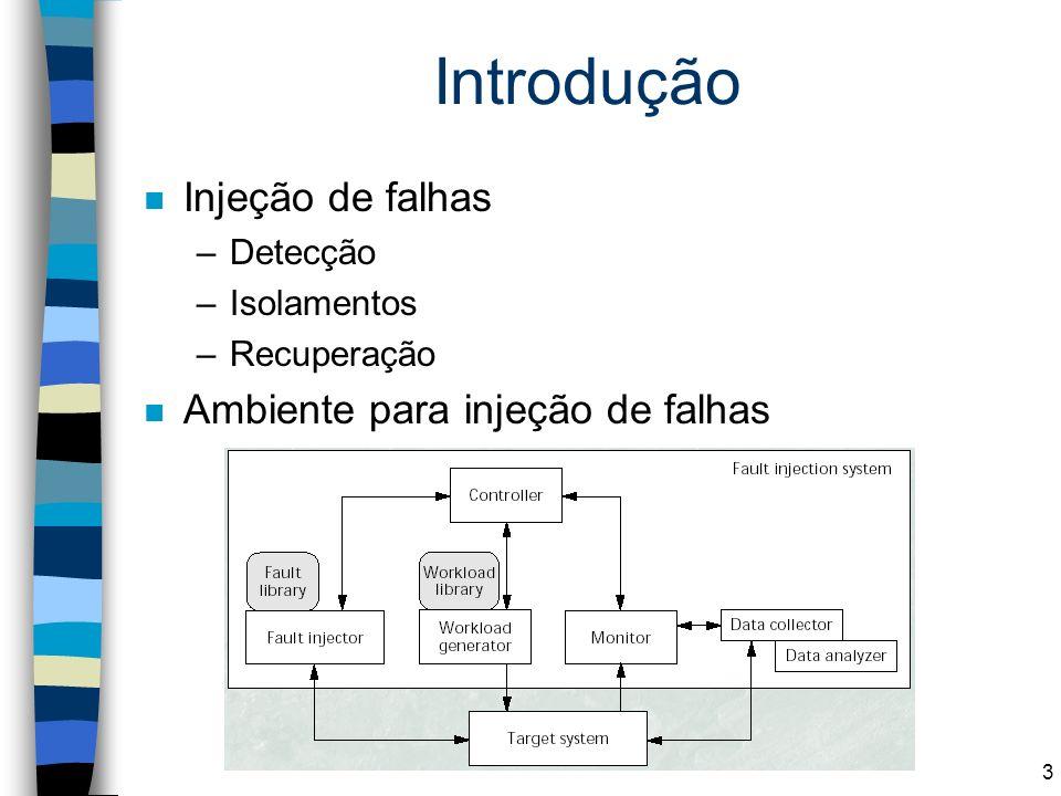 3 Introdução n Injeção de falhas –Detecção –Isolamentos –Recuperação n Ambiente para injeção de falhas