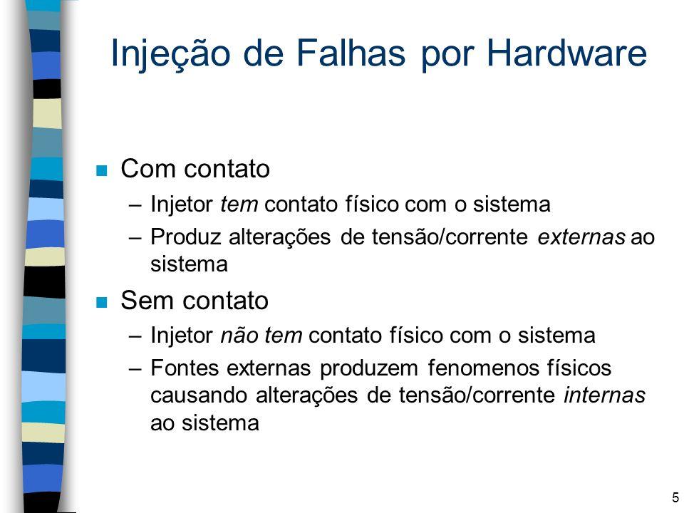 Injeção de Falhas por Hardware n Com contato –Injetor tem contato físico com o sistema –Produz alterações de tensão/corrente externas ao sistema n Sem
